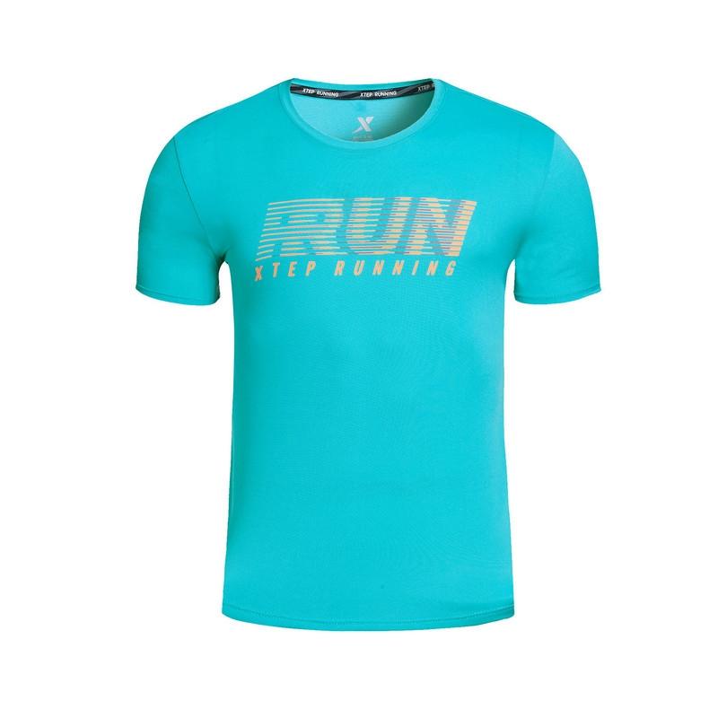 特步 专柜款 男子短袖针织衫  舒适透气弹力男跑步运动上衣983229011815