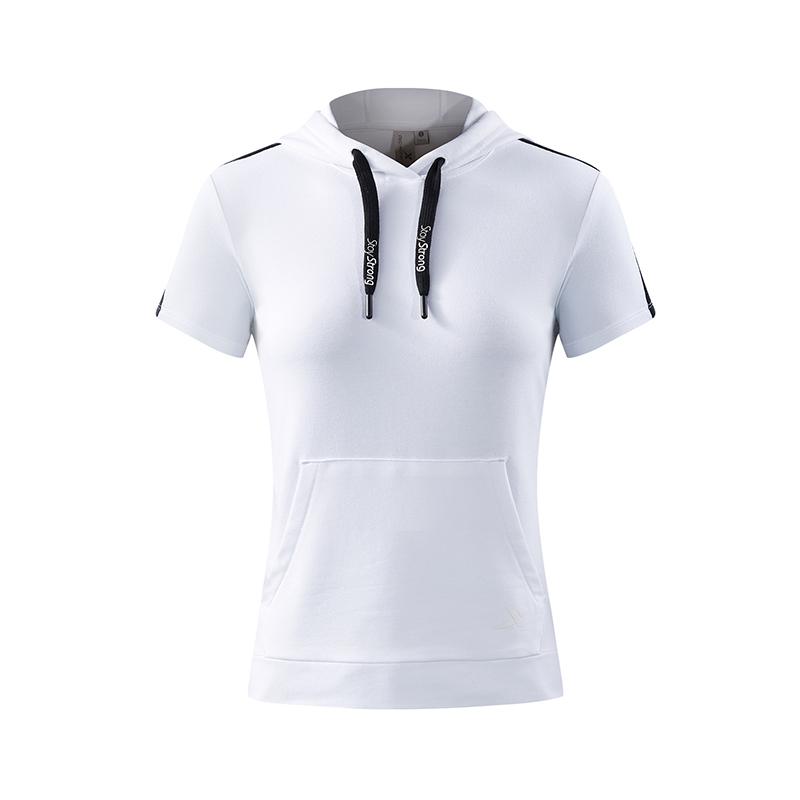 特步 专柜款 女子运动T恤 综训连帽短装982228430013
