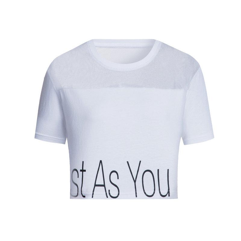 特步 女子夏季T恤 短款训练网面女装882228019103