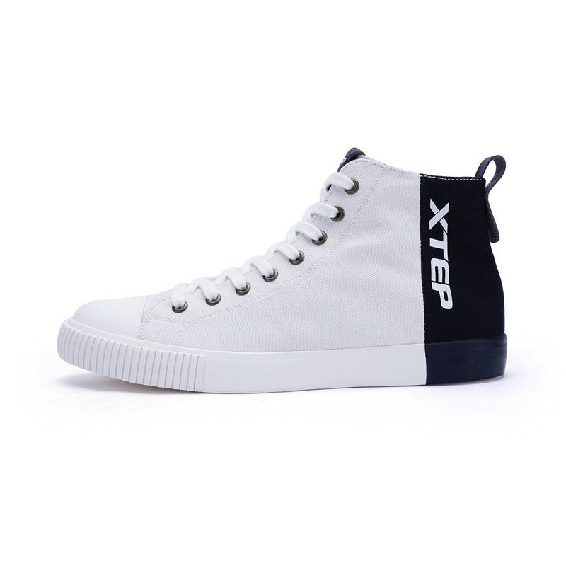 特步 男子帆布鞋17冬季新款 轻便舒适时尚高帮休闲鞋983419109600