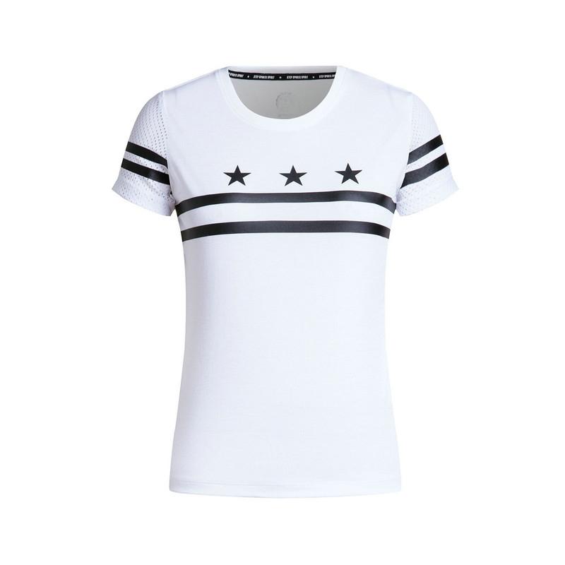 特步 专柜款 女子夏季T恤  星星印花潮流女上衣983228011717