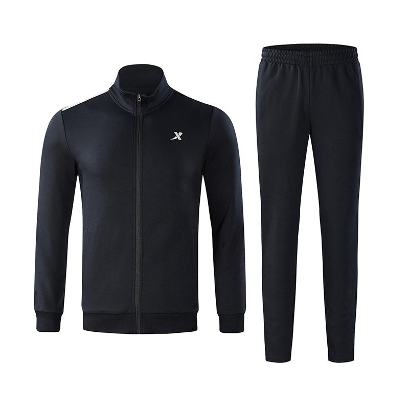 特步 男子针织套装  基础运动健身舒适上衣长裤两件套882329969084