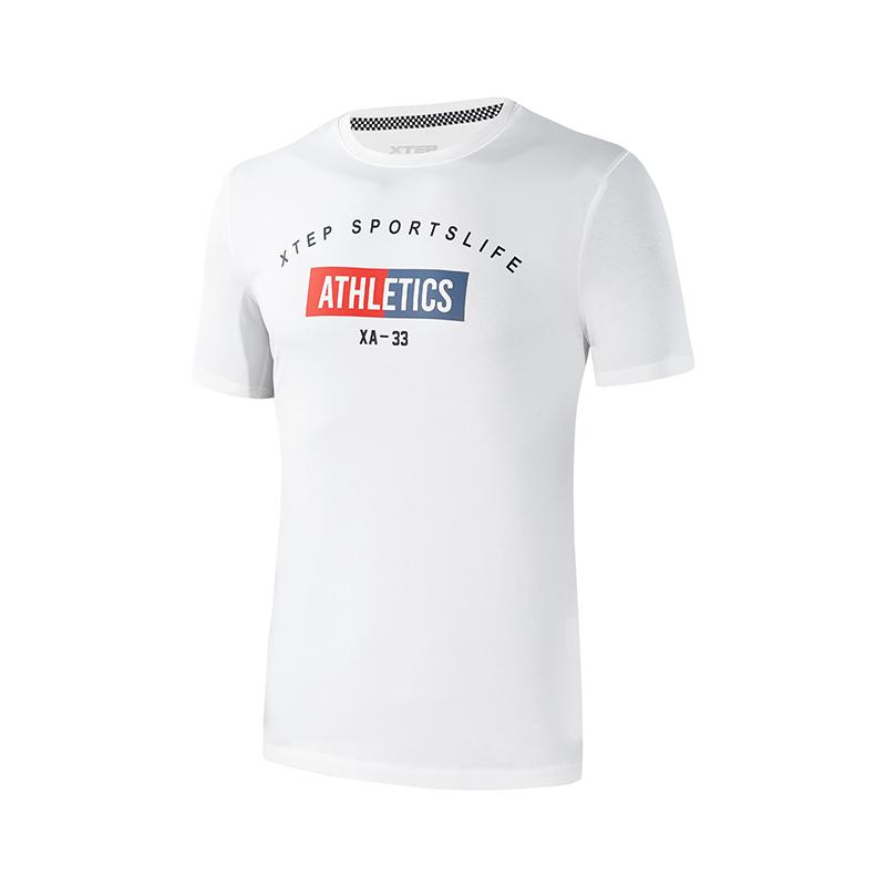 特步 专柜款 男子短袖针织衫  足球舒适运动上衣982329012432