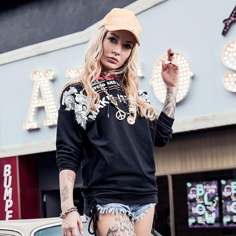 特步 专柜款 女子卫衣 秋季新款潮流嘻哈卫衣982328051807
