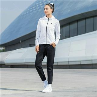 特步 女子运动套装长袖长裤针织两件套2018秋季新款简约时尚运动装882328969104