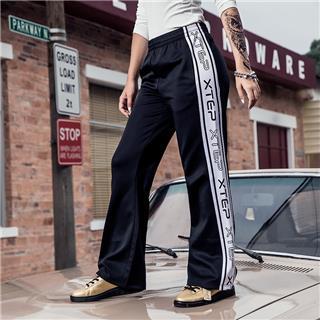 特步 女子针织长裤 秋季时尚嘻哈潮流宽松18新品直筒长裤882328639307