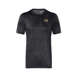 特步 专柜款  男子秋季新款足球运动舒适透气短袖针织衫982329012371