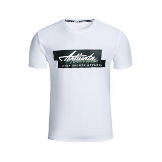 特步 专柜款 男子短袖针织衫 秋季简约时尚休闲舒适短袖T恤983329011878