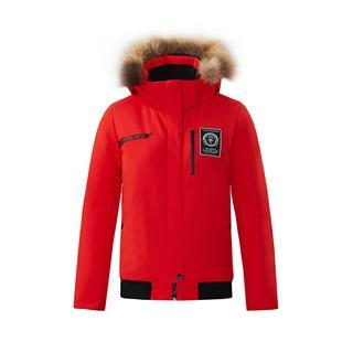特步 女子羽绒服 冬季新款运动保暖连帽加厚健身外套882428199233