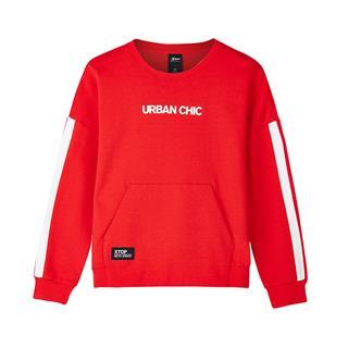 特步  女子卫衣 秋季都市系列舒适休闲简约小字口袋上衣882328059027