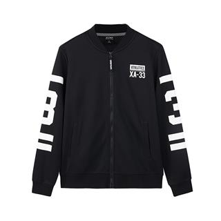 特步 专柜款  男子针织上衣 直播同款活力舒适潮流字母拉链夹克外套 982329061618