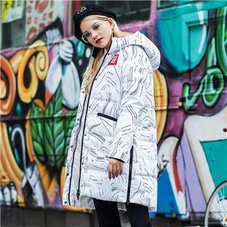 特步 女子羽绒服 18冬季新品时尚防风御寒保暖舒适连帽中长款外套882428199940