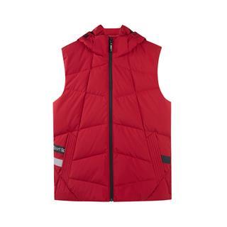 特步 专柜款 男子羽绒马甲 18冬季新品修身保暖连帽纯色运动外套982429260047
