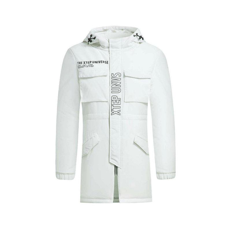 特步 女子棉服冬季款 校园运动中长款连帽保暖外套883428199008