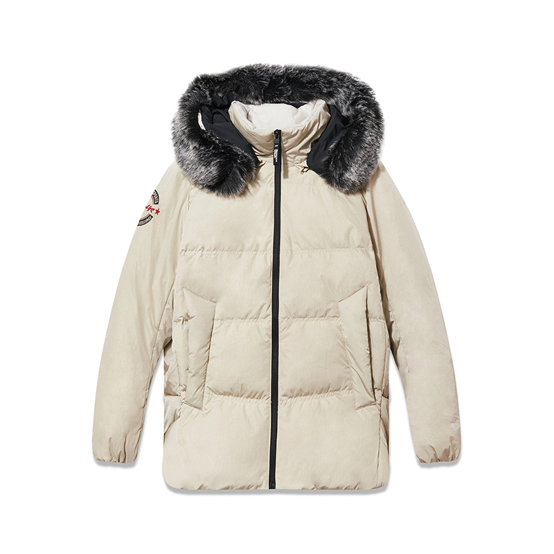 特步 专柜款 羽绒服女冬季新款保暖外套加厚连帽外套女装上衣982428190849