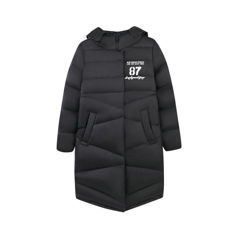 特步 专柜款 女子羽绒服长款保暖外套简约都市潮流冬季羽绒服2018冬季新款982428190850