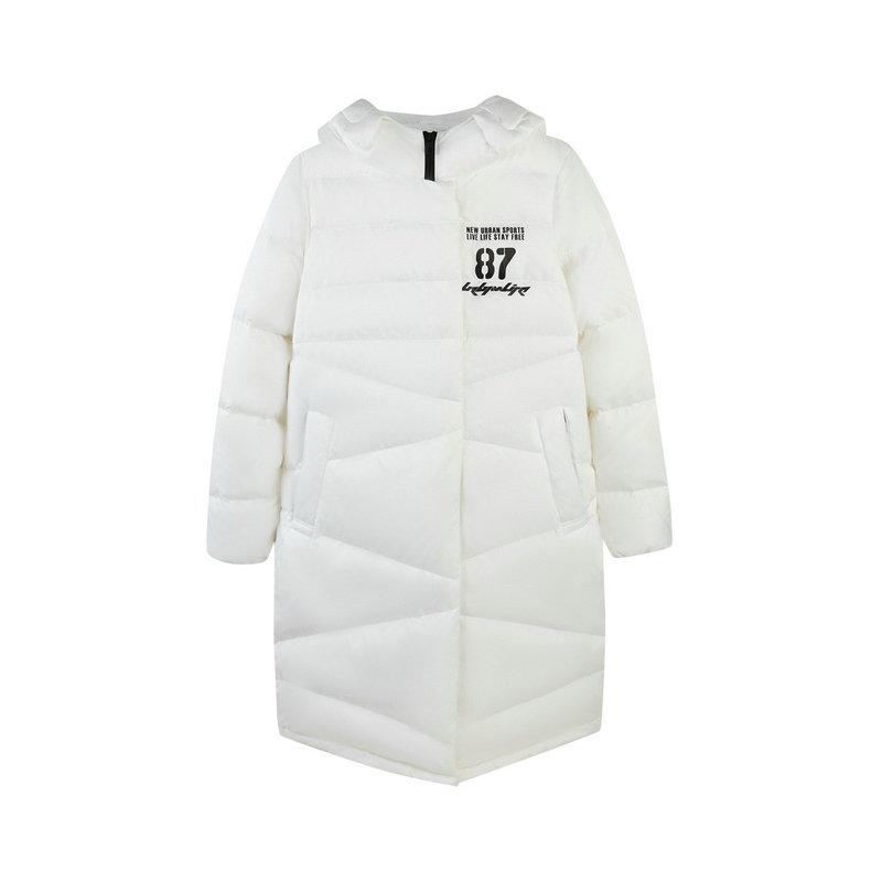 特步 专柜款 女子羽绒服长款保暖外套简约都市潮流冬季羽绒服冬季新款982428190850