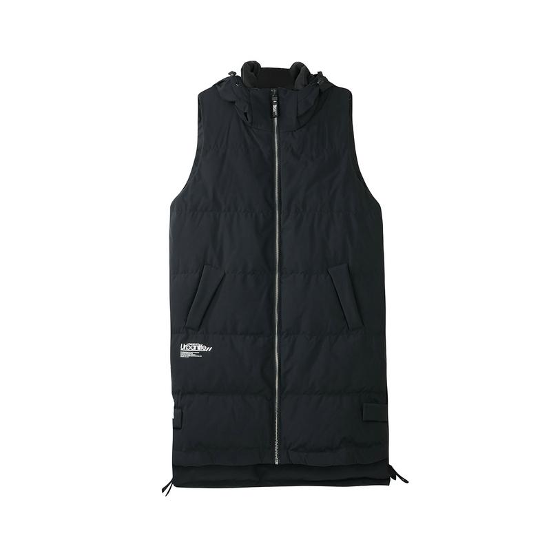 特步 专柜款 女服羽绒马甲冬季新品保暖舒适长款女马甲外套连帽女上衣982428260046
