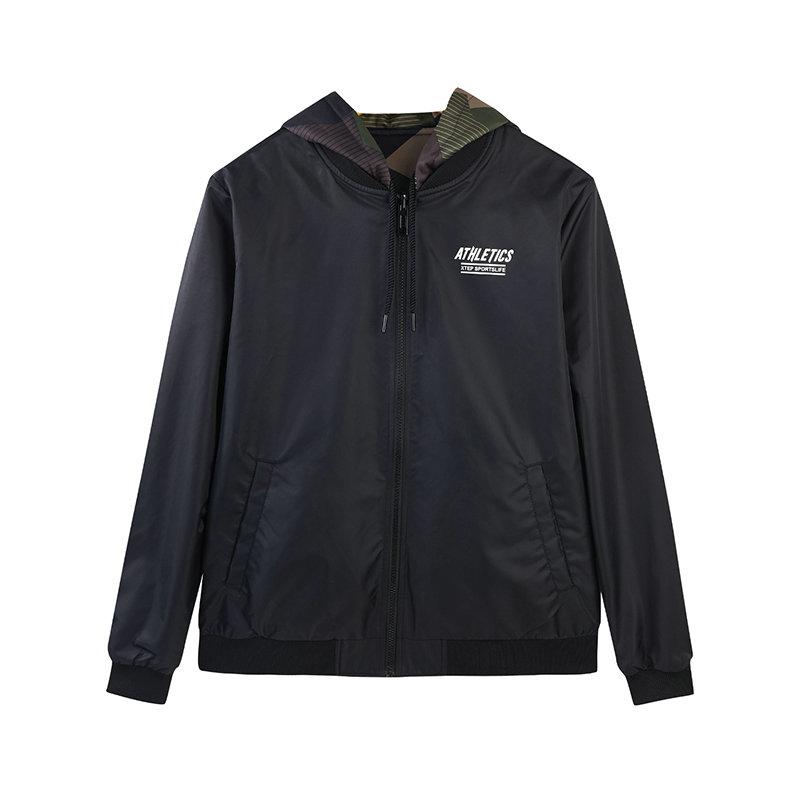 特步 专柜款 2018冬新款休闲男子运动外套双层两面穿夹克衫982429120820