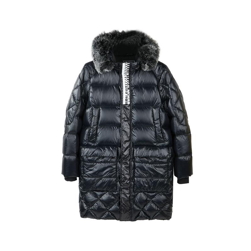 特步 专柜款 男子羽绒服 2018冬季新品连帽长款羽绒服毛领保暖外套时尚男装982429190875