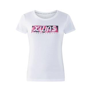 特步 专柜款 女子短袖针织衫 时尚字母印花百搭舒适运动女上衣982328012380