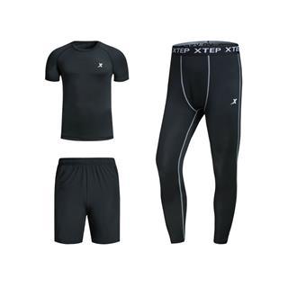 特步 男子跑步三件套装 春季修身舒适跑步装备882129A19304