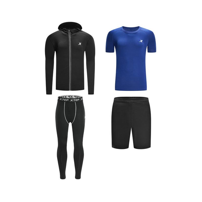 特步 男子四件套装 春季轻便运动健身训练运动套装882129989302
