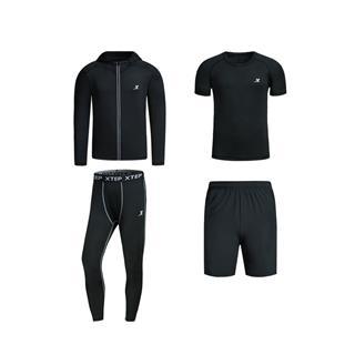 特步 男子四件套装 2018春季轻便运动健身训练运动套装882129989302