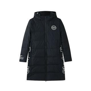 特步 专柜款 女子羽绒服 冬季新款时尚保暖连帽中长款外套982428190830
