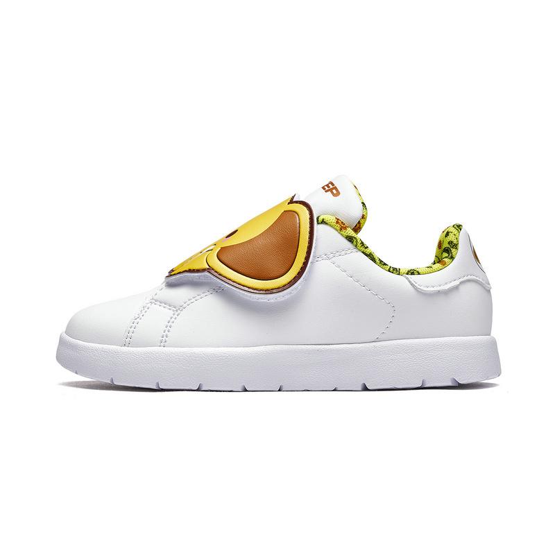 特步 儿童板鞋 冬新款时尚可爱动物小白鞋中小童休闲鞋682316319026