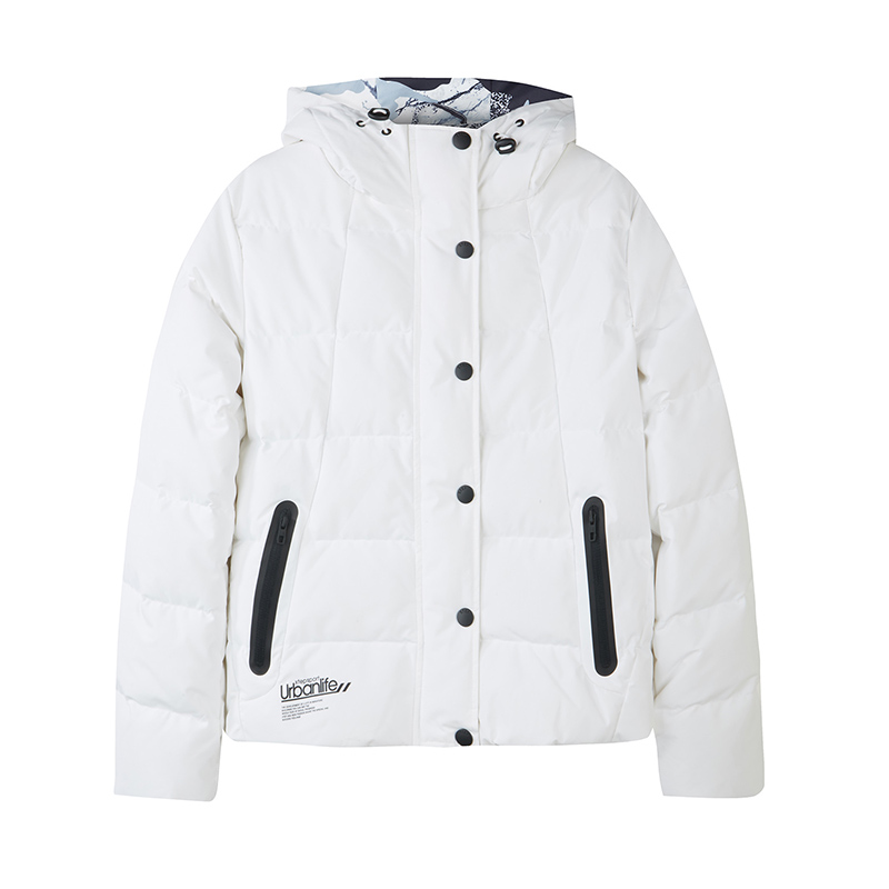 特步 专柜款 女子羽绒服 冬季新款时尚都市连帽口袋拉链保暖外套982428190847