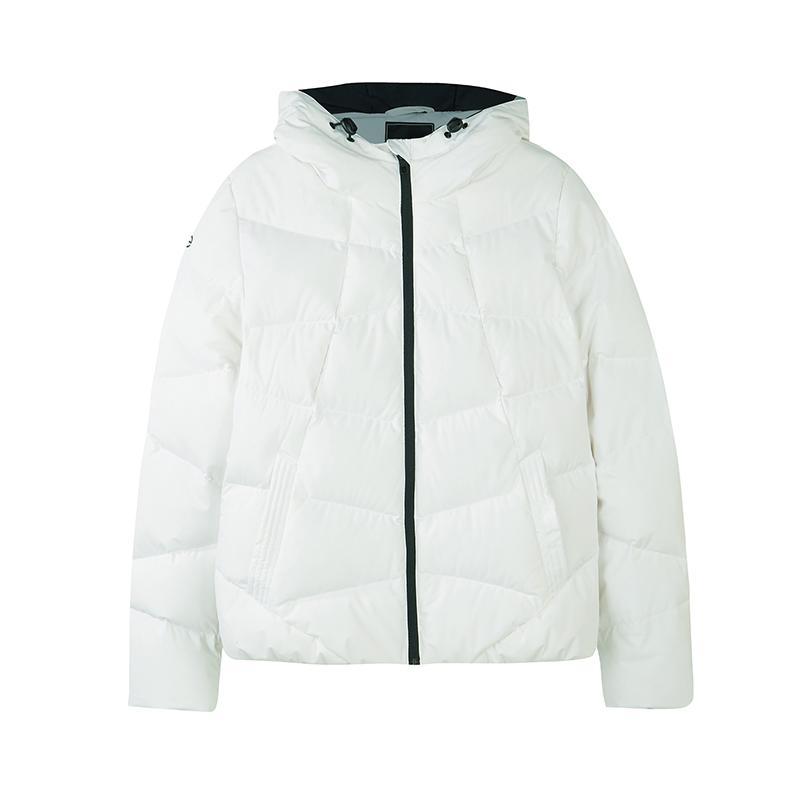 特步 专柜款 女子羽绒服 冬季新款都市时尚休闲连帽保暖运动外套982428190812