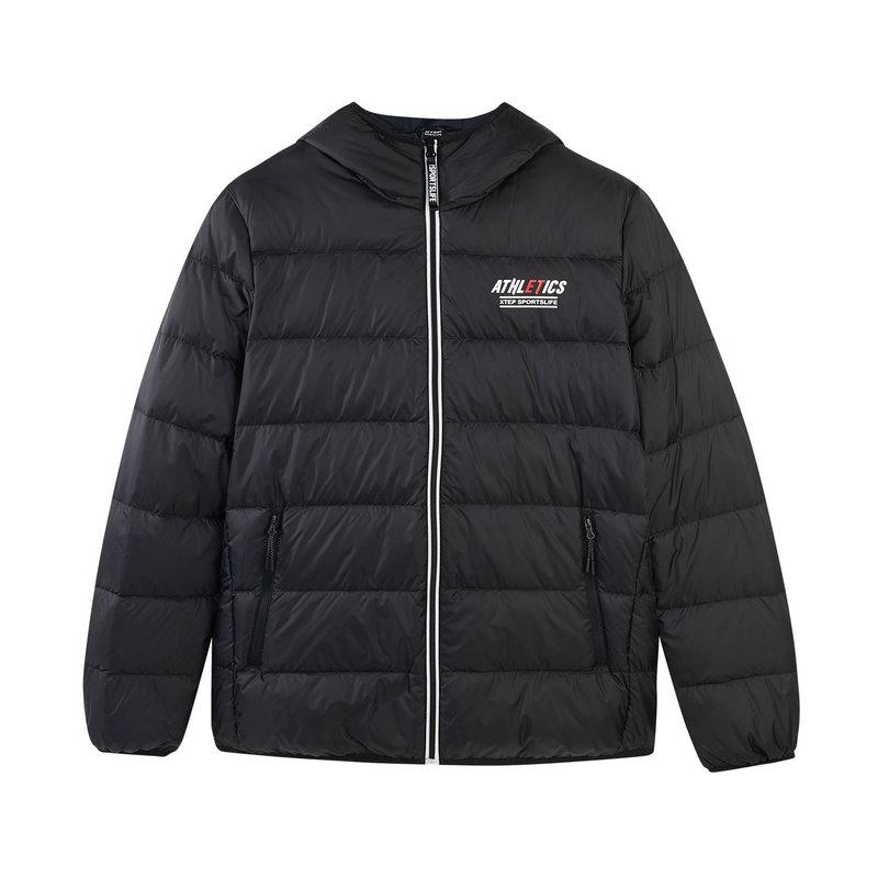 特步 专柜款 男子羽绒服 冬季新款时尚保暖舒适纯色连帽运动外套982429190807