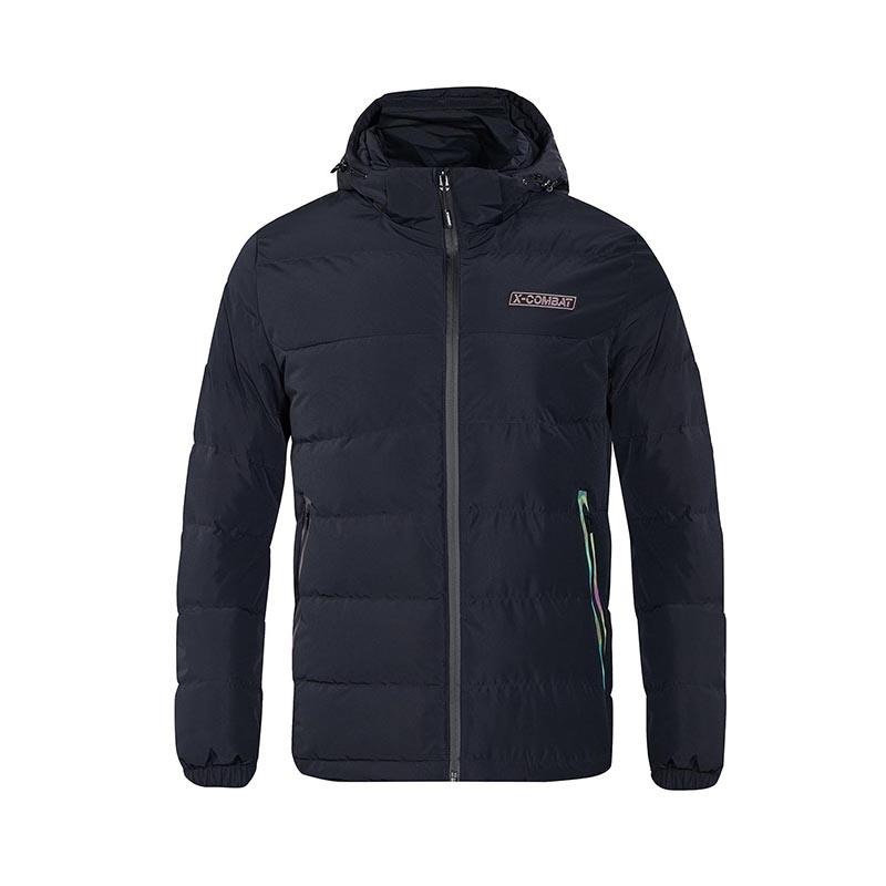 特步 专柜款 男子羽绒服 冬季新款休闲舒适健身户外运动连帽外套982429190882