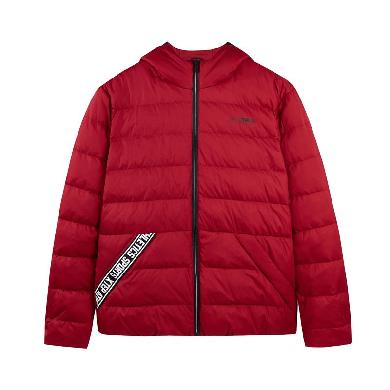 特步 男子羽绒服 冬季新款时尚舒适纯色休闲运动外套882429199403