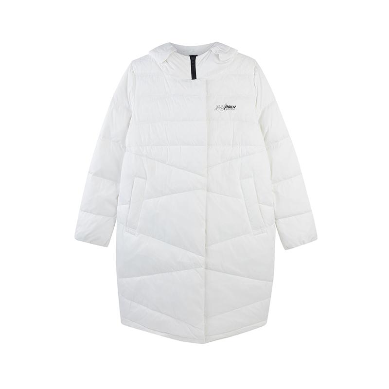特步 女子冬季新款舒适保暖百搭时尚长款羽绒服882428199405