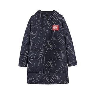 特步 女子羽绒服 18冬季新品时尚御寒保暖舒适连帽中长款外套882428199940