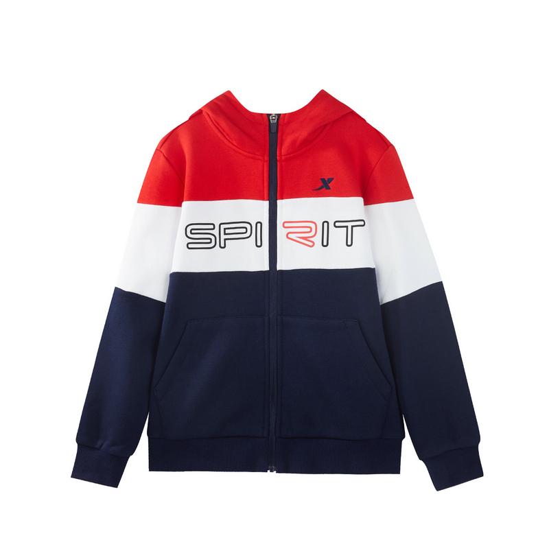特步 女童针织上衣 冬季新款儿童外套针织运动上衣运动夹克882424069532