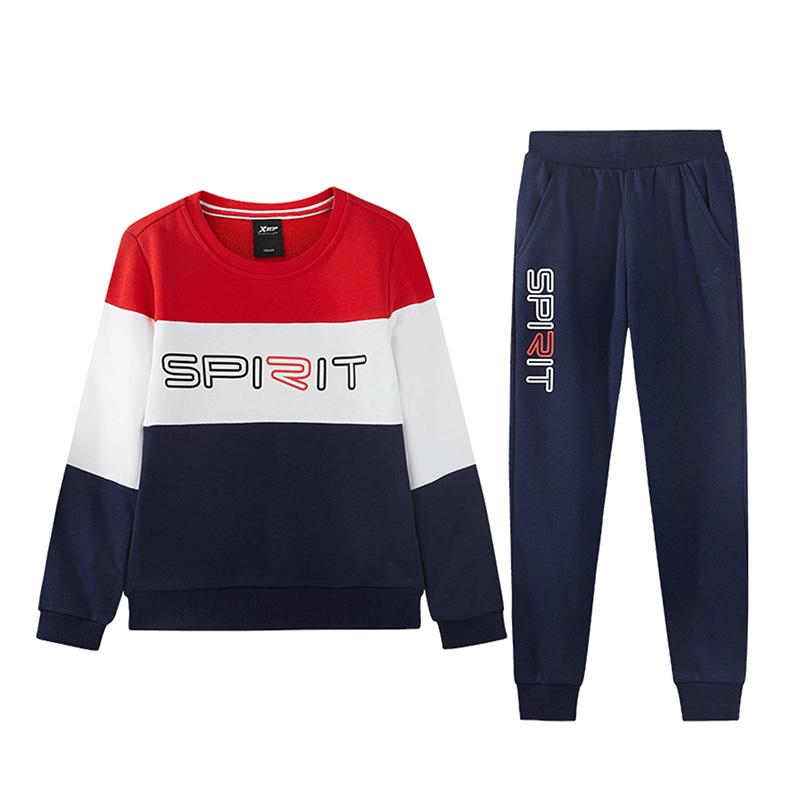 特步 女童卫衣套装 秋冬新款中大童常规款休闲儿童运动套装882424979535