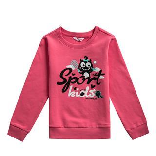 特步 专柜款 女童卫衣 秋冬新款休闲百搭可爱儿童套头衫682324053269