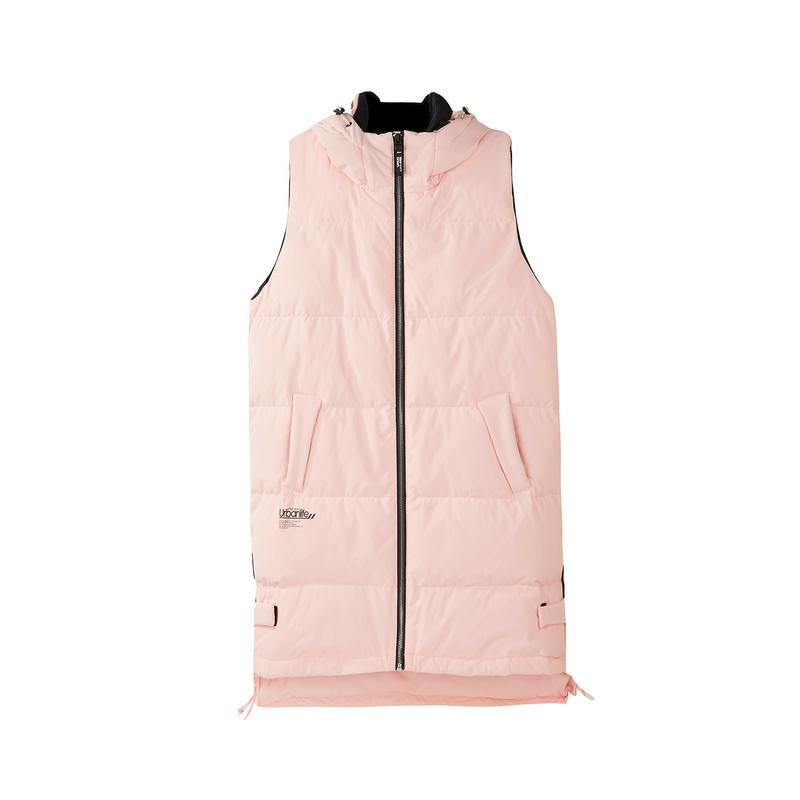 特步 专柜款 女服羽绒马甲2018冬季新品保暖舒适长款女马甲外套连帽女上衣982428260046