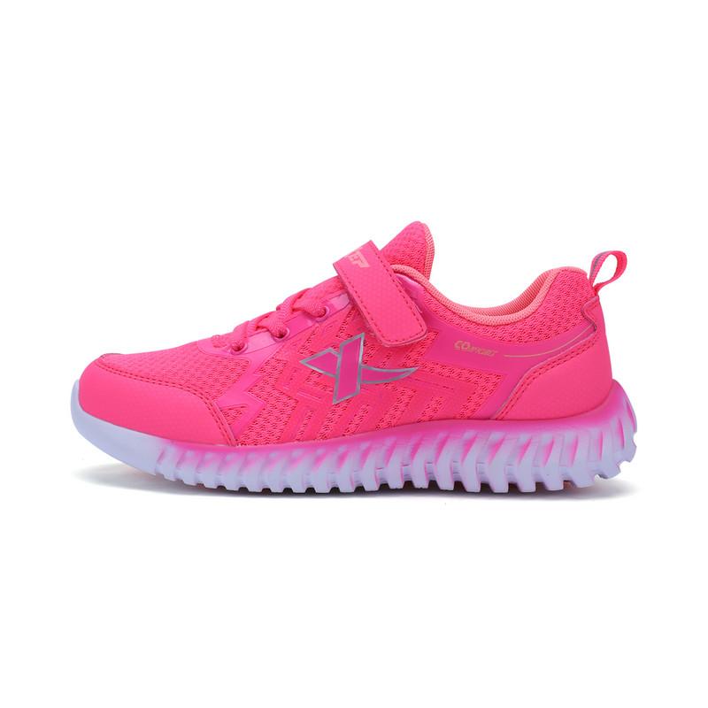 特步 女童跑鞋 中大童柔立方舒适休闲运动鞋683314119953