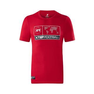 特步 专柜款 男子短袖针织衫  足球舒适运动上衣982329012372