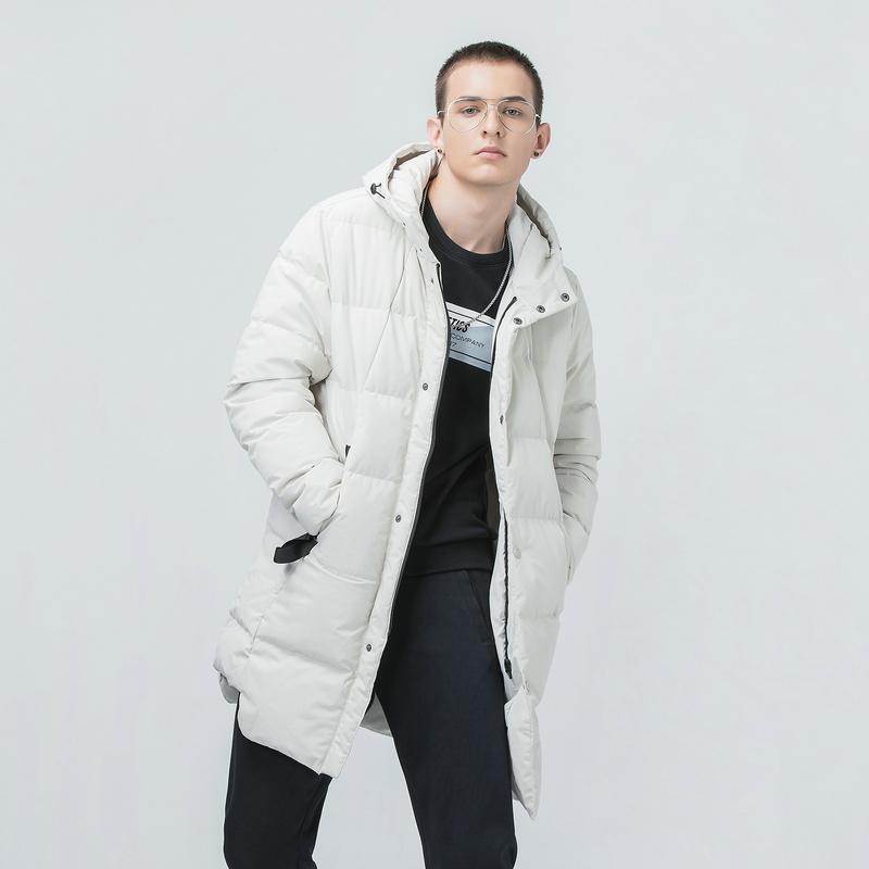 特步 专柜款 男子冬季保暖中长款连帽羽绒服982429190818