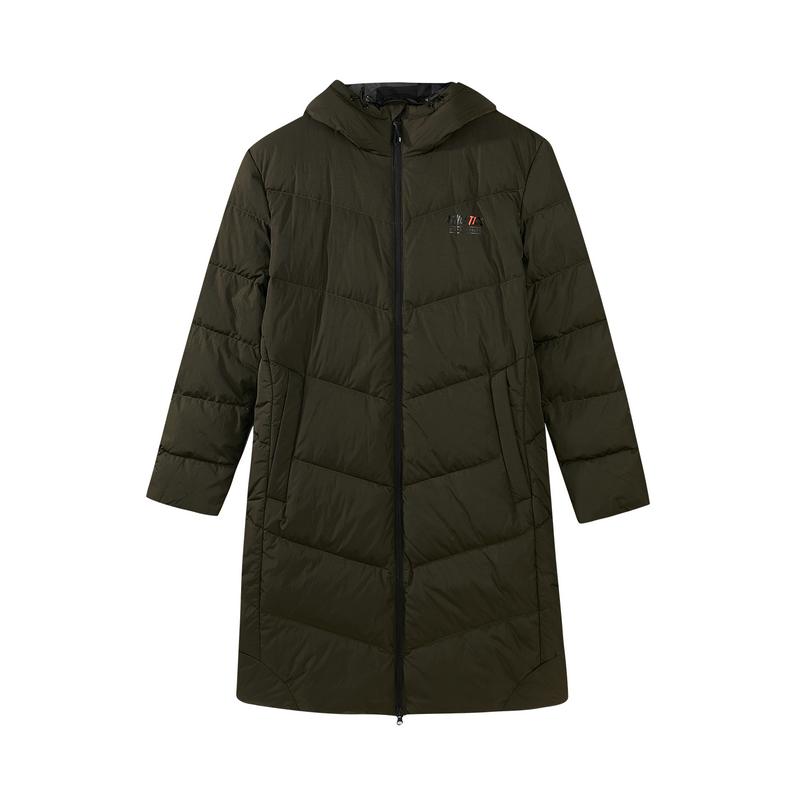 特步 专柜款 男子冬季中长款连帽保暖轻便羽绒服982429190833