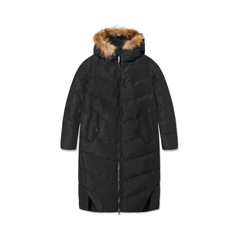 特步 专柜款 女子羽绒服 冬季新品时尚长款保暖大毛领连帽运动外套982428190796