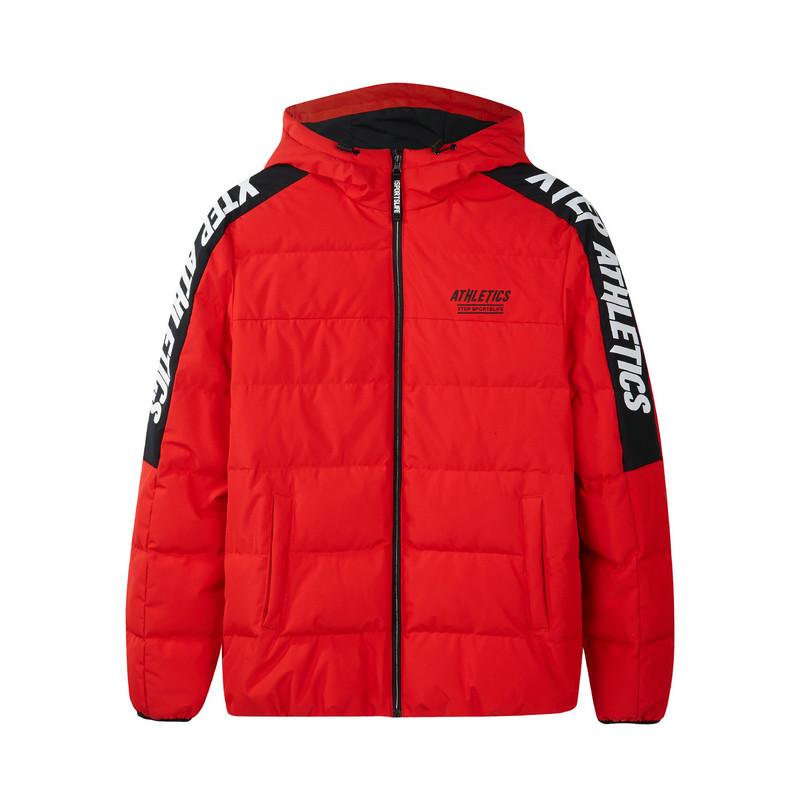特步 专柜款 运动服男冬季新款保暖短款字母连帽羽绒服982429190903
