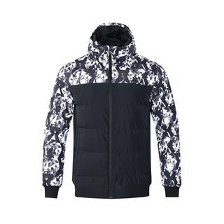 特步 专柜款 2018年冬季新款男短款羽绒服拼接连帽羽绒衣外套982429190911