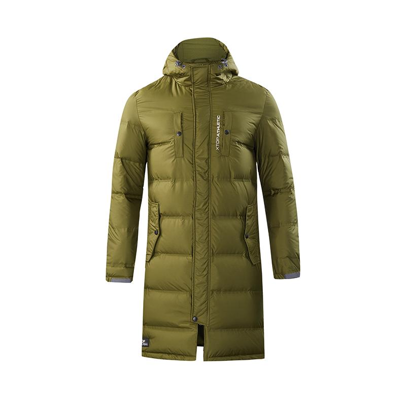 特步 男子羽绒服 冬季新款连帽保暖休闲运动长款外套882429199211