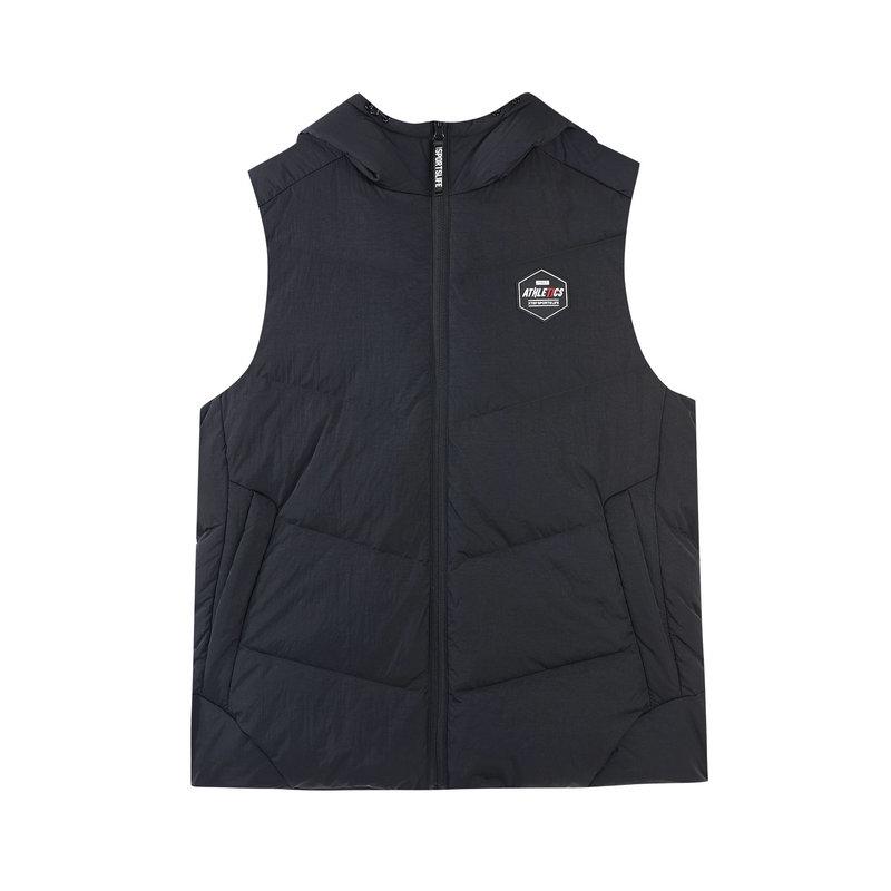 特步 专柜款 男子羽绒马甲18冬季新品修身保暖连帽纯色运动外套982429260045